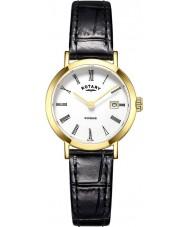 Rotary LS05303-01 Damer klockor windsor guldpläterade svart läderrem klocka