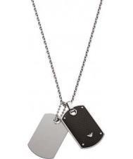 Emporio Armani EGS1601040 Mens signatur två ton kolfiber dog tag halsband