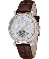 Thomas Earnshaw ES-8046-04 Mens stora kalender brunt läder Strap Watch