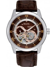 Bulova 96A120 Mens automatisk brunt läder Strap Watch