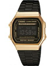 Casio A168WEGB-1BEF Mens samling svart stål armband klocka