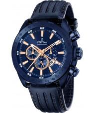 Festina F16898-1 Mens prestige blått skinn chronographklockan