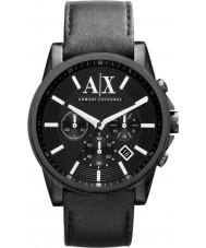 Armani Exchange AX2098 Män svart läderrem kronograf klänning klocka