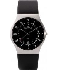 Skagen 233XXLSLB Man klassik svart läderrem klocka