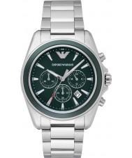 Emporio Armani AR6090 Mens grön silver kronograf sportklocka