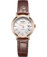 Rotary LS90157-02 Damer les origin Windsor steg guldpläterad brunt läder Strap Watch