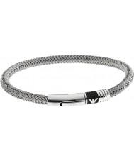 Emporio Armani EGS1623040 Mens signatur gummiinlägget två silver stål armband