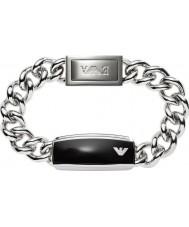 Emporio Armani EGS1729040 Mens signatur elegant svart matt id stål armband
