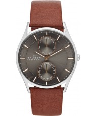 Skagen SKW6086 Mens holst brunt läder Strap Watch