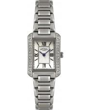 Rotary LB02650-41 Damer klockor kristall bezel vitt stål watch