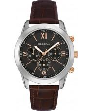 Bulova 98A142 Mens klänning brunt läder chronographklockan
