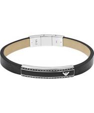 Emporio Armani EGS1923040 Mens signatur svart läder id armband