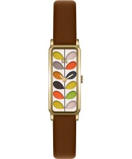 Orla Kiely OK2104 Damer hejda tryck tan läderrem watch