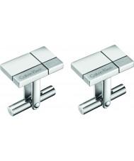 Calvin Klein KJ3PMC090100 Mens konstruerade silver tone manschettknappar stål