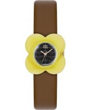 Orla Kiely OK2120 Damer vallmo gul fall brunt läder Strap Watch