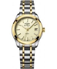 Rotary LB90174-03 Damer klockor arv två ton stål armband klock