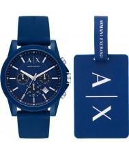 Armani Exchange AX7107 Mäns sportsklocka present set