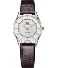 Rotary LS90800-02 Damer ultratunn brunt läder Strap Watch