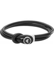 Emporio Armani EGS2212040 Mens signatur svart läderarmband