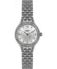 Rotary LB02866-06 Ladies tidmätare sten set silver stål watch