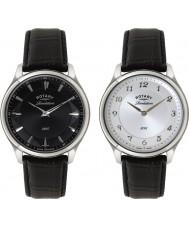 Rotary GS02965-04-22 Mens uppenbarelse svart läderrem klocka med reversibel urtavla