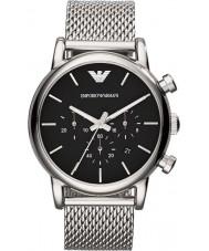 Emporio Armani AR1811 Mens klassiska kronograf svart silver mesh armband klocka