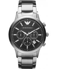 Emporio Armani AR2434 Mens klassiska kronograf svart silver klocka
