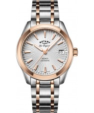 Rotary LB90167-06 Damer klockor arv två ton stål armband klock