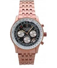 Krug-Baumen 400602DS Air resande diamant svart urtavla steg guld rem